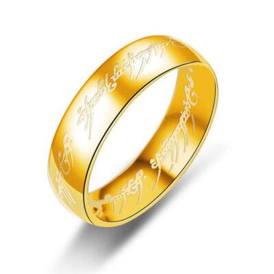 Gyűrűk ura jellegű gyűrű arany, nemesacél gyűrű több méretben (Egy gyűrű mind fölött)