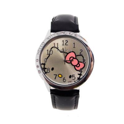Hello Kitty cseppálló óra kis kövekkel, fekete szíjjal