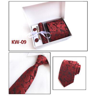 d0da72de0d Piros mintás nyakkendő mandzsettagombbal, kendővel és dísz-zsebkendővel