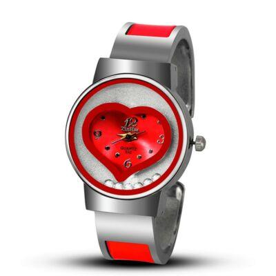 XINHUA ütés- és cseppálló nemesacél karkötő óra szív motívummal, piros