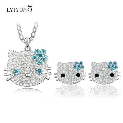 Hello Kitty csillogó-villogó nyaklánc és fülbevaló szett