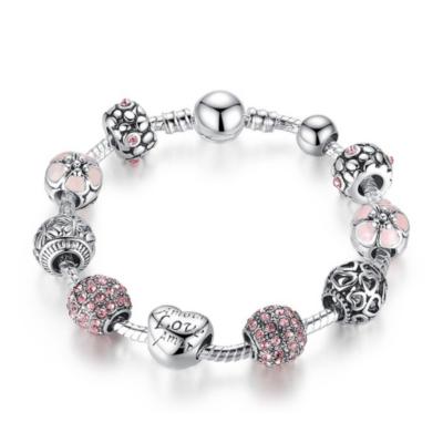 BAMOER ezüstözött Pandora stílusú Charm karkötő, szív és virág motívumokkal, pink, 21 cm