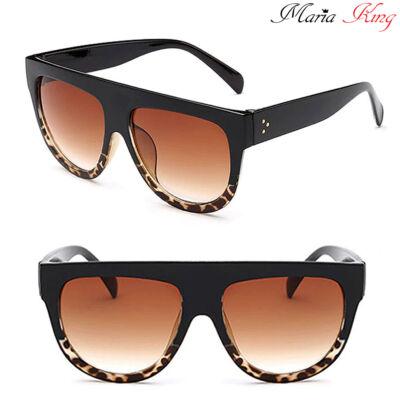Nagyméretű trendi napszemüveg, alján leopárd mintával