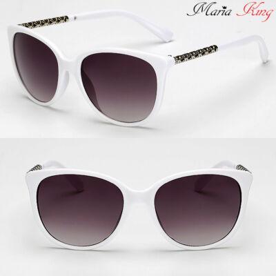 Női divatos macskaszem napszemüveg fémberakással, fehér