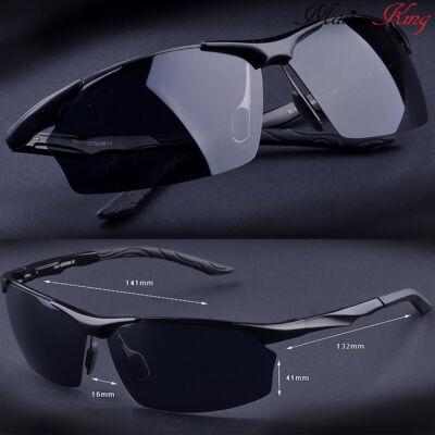 Fekete alumínium-magnézium keretes divatos férfi napszemüveg, polarizált lencsével