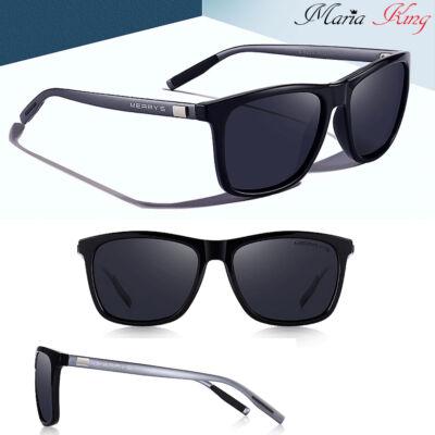 MERRY'S szürke-fekete alumínium keretes polarizált férfi napszemüveg