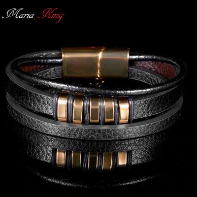 f1f60bbca Valódi bőr férfi karkötő, rose gold fémdíszítéssel, 21 cm