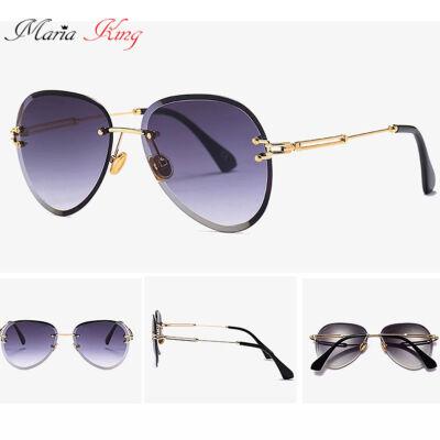 Luxus keret nélküli női napszemüveg, 2020-as design, szürke színátmenetes lencsével