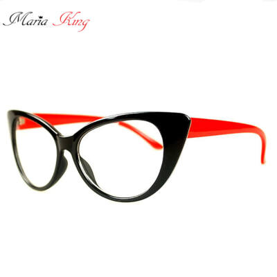 Átlátszó lencsés, cicás divat szemüveg, piros szárral