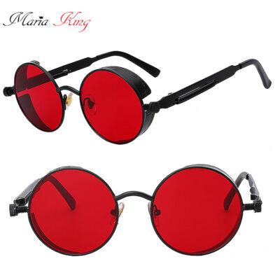Kerek lencséjű fémkeretes uniszex napszemüveg, piros-fekete