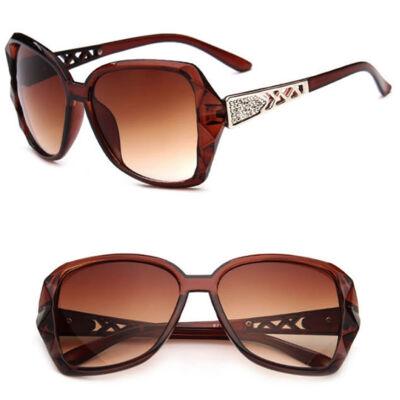 Nagylencsés vintage női napszemüveg, barna