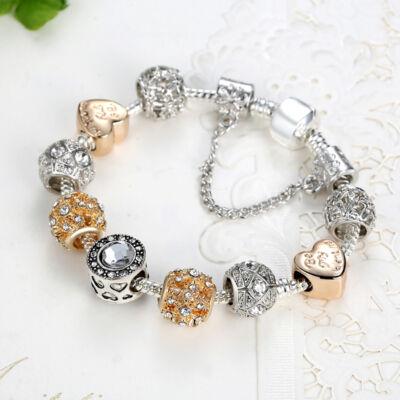 'Be my Valentine' feliratos szív motívumos ezüst-arany színű Pandora stílusú charm karkötő, 19 cm