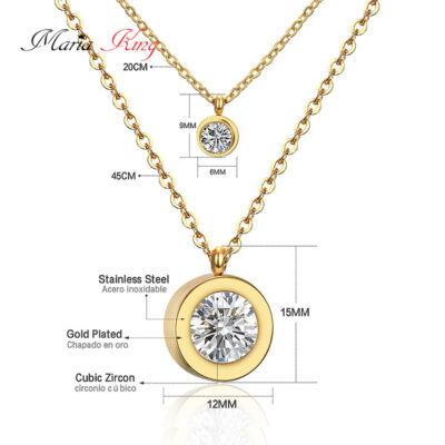 Gyönyörű 316L dupla nemesacél nyaklánc cirkónium kristállyal, aranyozott - 45 cm