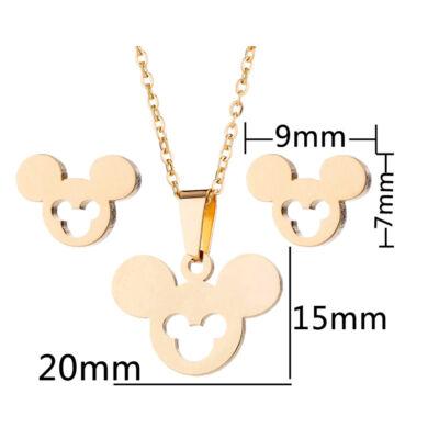 Nemesacél Mickey egér motívumos fülbevaló és nyaklánc szett, arany színű