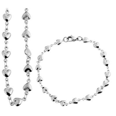 7202a8a227 Akzent nemesacél divatos ékszerszett: Lánc, karlánc, ezüst szív motívumokkal