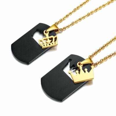 Nemesacél Queen - King páros korona motívumos nyaklánc, fekete-arany, ajándékdobozzal
