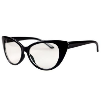 Átlátszó lencsés, cicás divat szemüveg, fekete kerettel