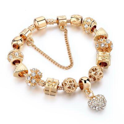 Pandora stílusú arany színű charm karkötő, 20 cm