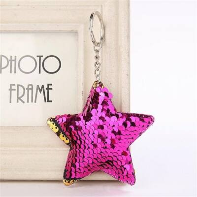 580bff0219 Csillag flitteres pompom/kulcstartó, sötét pink