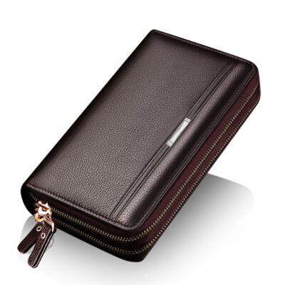 e190926a3c Nagyméretű dupla cipzáras barna férfi pénztárca/táska, 21x12x4 cm