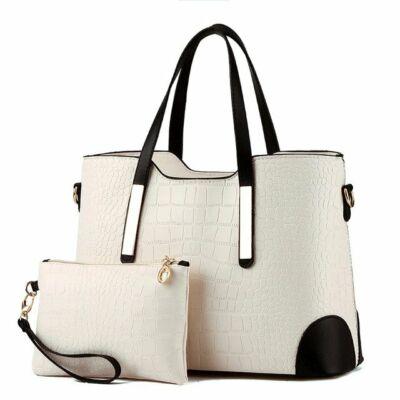 96e69e718af2 Fekete-fehér krokodil mintás műbőr táska szett, 2 db