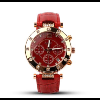 7742703c20 GUOU bőrszíjas, nemesacél tokos luxus női óra, piros Katt rá a  felnagyításhoz