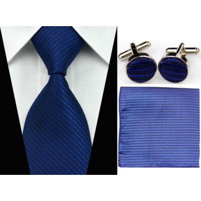 dee355fad0 Sötétkék nyakkendő mandzsettagombbal és díszzsebkendővel