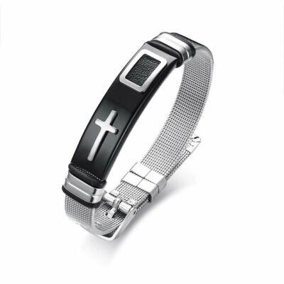 6511114de Férfi nemesacél kereszt motívumos karkötő, ezüst-fekete színű