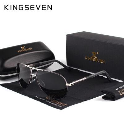KINGSEVEN vintage pilóta napszemüveg, polarizált lencse, ezüst-fekete kerettel