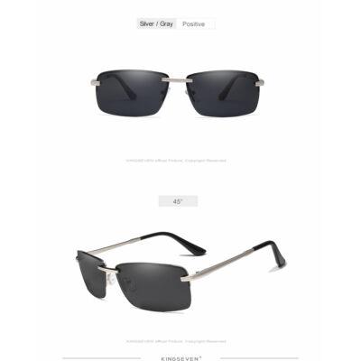KINGSEVEN polarizált fekete lencsés férfi napszemüveg ezüst színű kerettel bf8c045d16