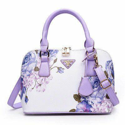 Lila virág motívumos luxus műbőr táska