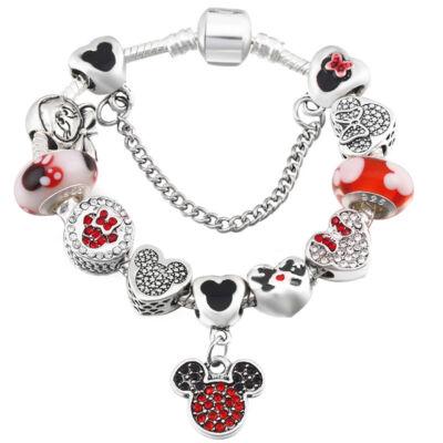 Pandora stílusú Mickey egér motívumos Charm karkötő, piros-fekete - 20 cm