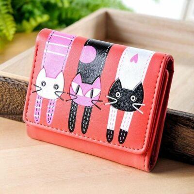 Piros három cicás pénztárca (10,5x9 cm)