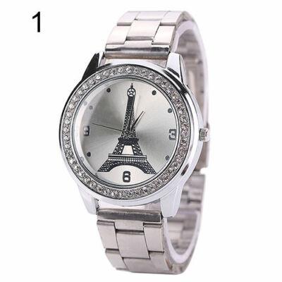 003db36794 Nemesacél szíjas Eiffel-tornyos női karóra kristályokkal, ezüst