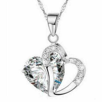 Aranyozott kristály szív medál nyaklánccal, áttetsző