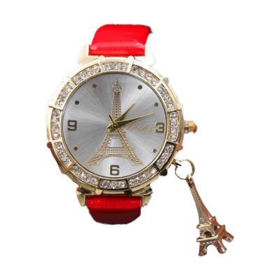 Eiffel torony mintás, kristályokkal kirakott női karóra, függővel, piros