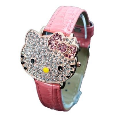Hello Kitty felnyitható fedelű, kristály karóra, rózsaszín