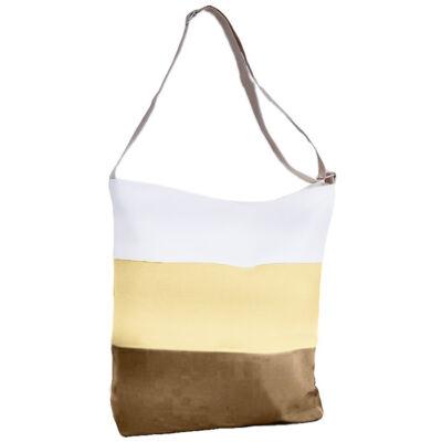 1b459444f430 Barna-bézs-fehér vászon táska