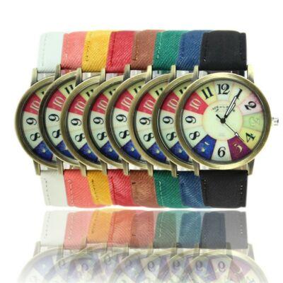 Unisex, színes számlapos vintage óra