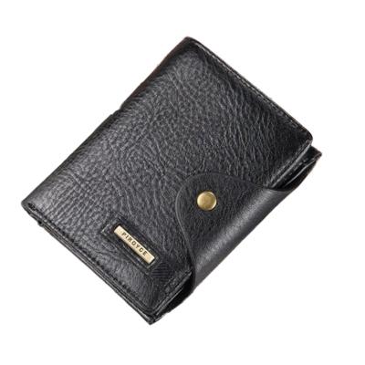 dc63264c79 Valódi bőr férfi pénztárca, fekete (11,5x9,5 cm)