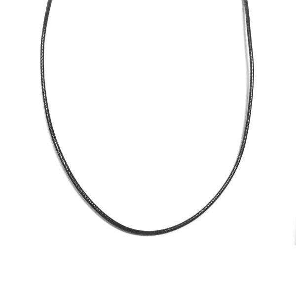PU bőr lánc (2 mm vastag), 45+5 cm, fekete