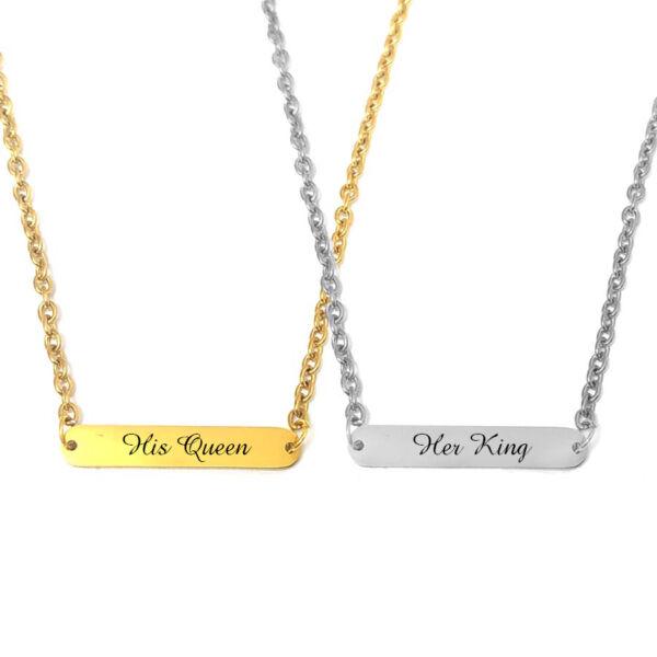king-Queen-feliratú-páros-nyaklánc-tüköracél-lapocskával