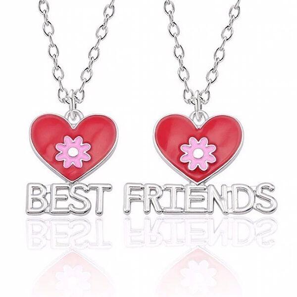 Legjobb barátok - 2 db lánc és medál, piros-pink virágokkal (Best Friends felirattal)