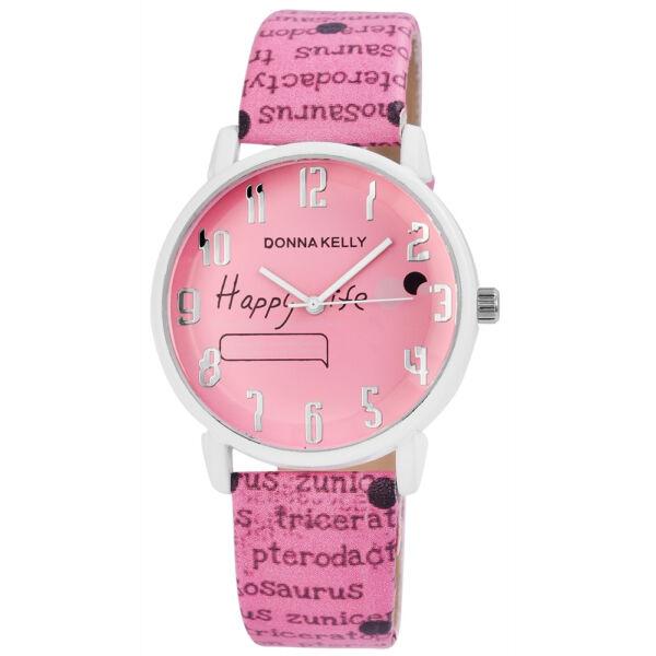 Extravagáns, Donna Kelly márkájú női karóra, Happy Life felirattal, pink
