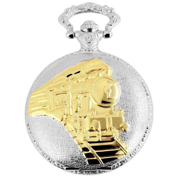 Elegáns Fame márkás ezüst Zsebóra lánccal (vonat mintás)