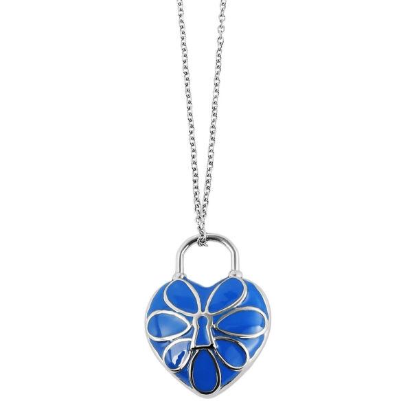 Nemesacél nyaklánc kék lakat-szívvel, közepén zárat formázó mintával