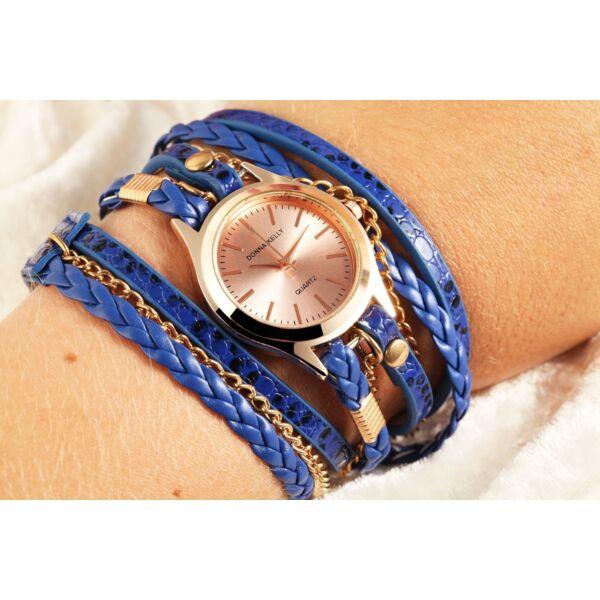 Donna Kelly többsoros nemesacél női karkötő óra, kék