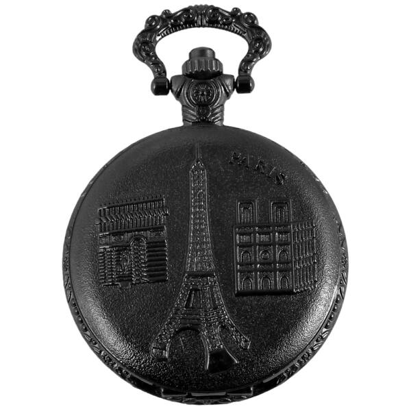 Classix nemesacél zsebóra lánccal Eiffel-torony motívummal, fekete