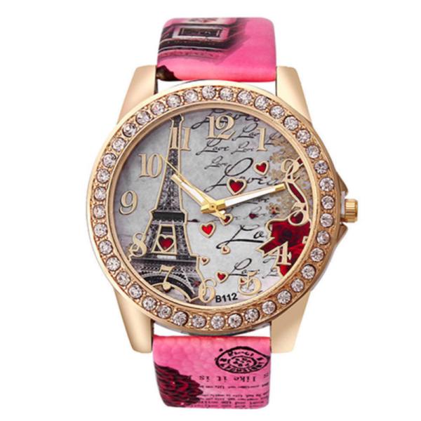 Divatos női óra Eiffel torony mintával, kövekkel - sötét rózsaszín