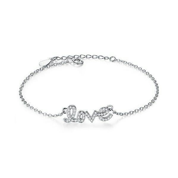 925 Sterling Ezüst 'LOVE' feliratos karkötő, ajándékdobozzal